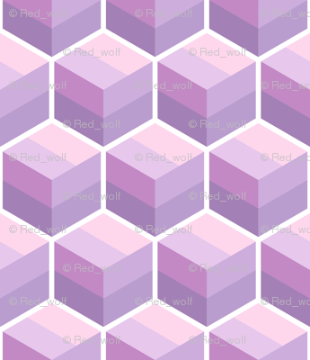 Geometric Pattern: Cube Stripe: Purple