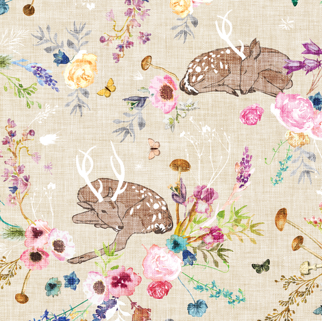 Fawn Garden (ivory) MED  fabric by nouveau_bohemian on Spoonflower - custom fabric