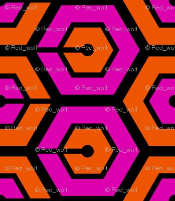 Geometric Pattern: Linked Hexagon: Orange/Pink