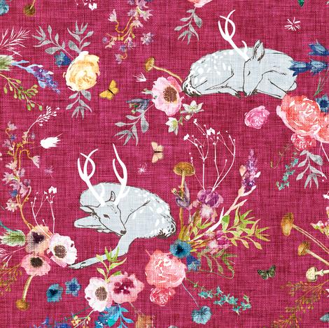 Fawn Garden (raspberry) MED fabric by nouveau_bohemian on Spoonflower - custom fabric