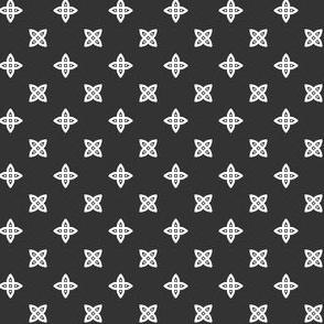 Geometric Pattern: Four Petal Stylised Flower: Grey