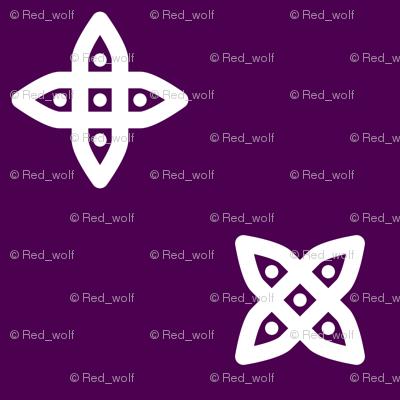 Geometric Pattern: Four Petal Stylised Flower: Purple
