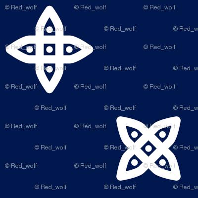 Geometric Pattern: Four Petal Stylised Flower: Blue