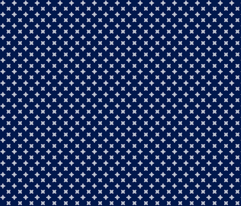 Geometric Pattern: Four Petal Stylised Flower: Blue fabric by red_wolf on Spoonflower - custom fabric