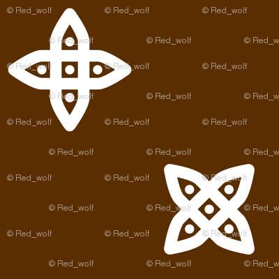 Geometric Pattern: Four Petal Stylised Flower: Brown