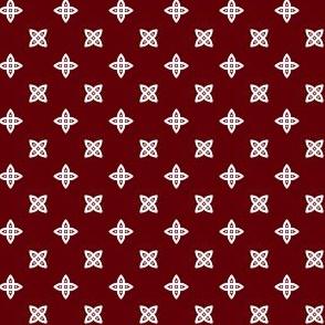 Geometric Pattern: Four Petal Stylised Flower: Red