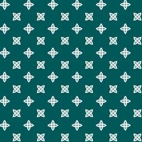 Geometric Pattern: Four Petal Stylised Flower: Green