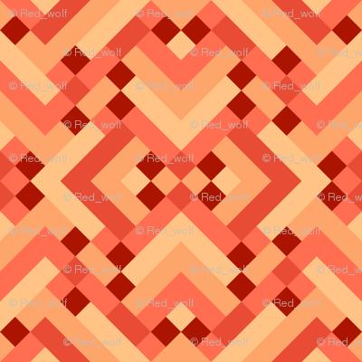 Geometric Pattern: Woven Rug: Orange