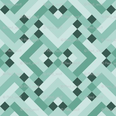 Geometric Pattern: Woven Rug: Green
