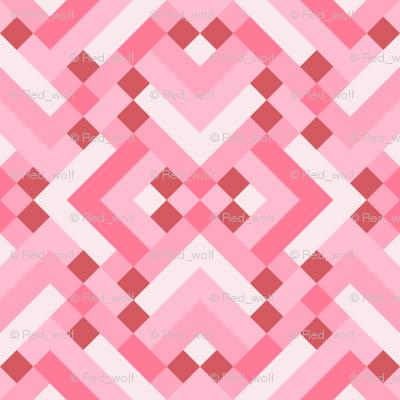 Geometric Pattern: Woven Rug: Pink