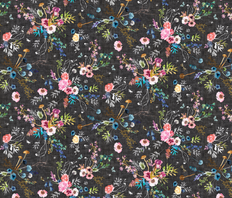 Wild Meadow (charcoal) MED fabric by nouveau_bohemian on Spoonflower - custom fabric