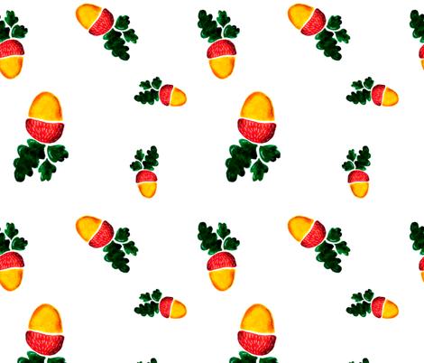 Watercolor acorns fabric by katrinkastem on Spoonflower - custom fabric