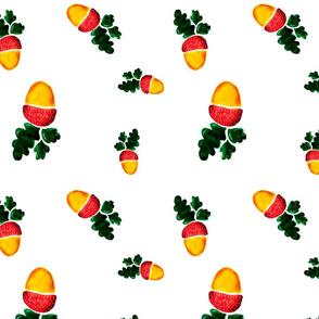 Watercolor acorns
