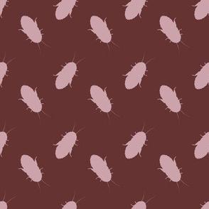 cockroach polkadot pinky brown on maroon