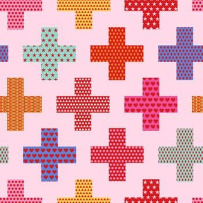 first aid crosses - pink