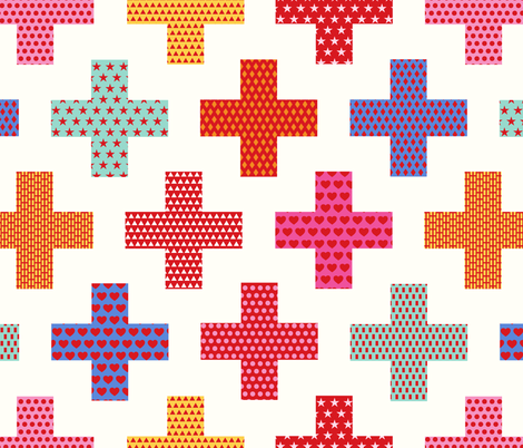 first aid crosses - large scale fabric by vivdesign on Spoonflower - custom fabric