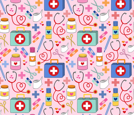 first aid kit - large scale fabric by vivdesign on Spoonflower - custom fabric