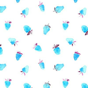 Baby strawberries in blue || watercolor pattern for nursery, baby, kids