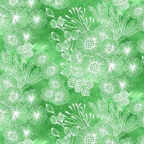 Sea garden half-drop in green