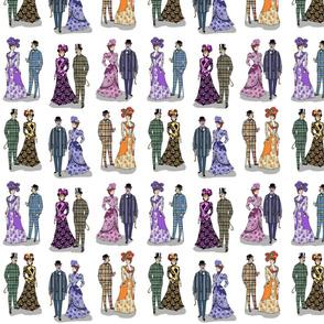 Victorian patterns on white 8x8