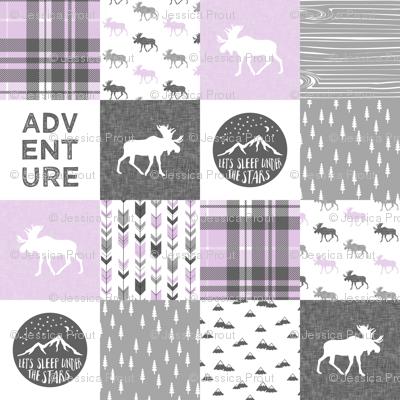 Adventure Moose Woodland Patchwork Plaid Purple