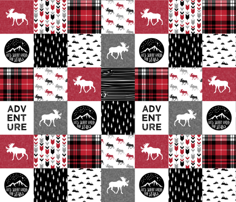 Adventure Moose Woodland Patchwork Plaid Red and Black fabric by littlearrowdesign on Spoonflower - custom fabric
