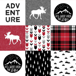 Adventure Moose Woodland Patchwork Plaid Red and Black