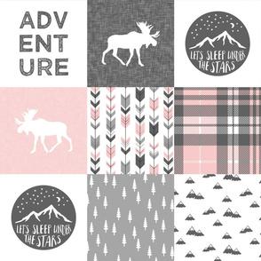 Adventure Moose Woodland Patchwork Plaid - pink