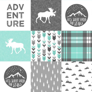 Adventure Moose Woodland Patchwork Plaid Light Teal