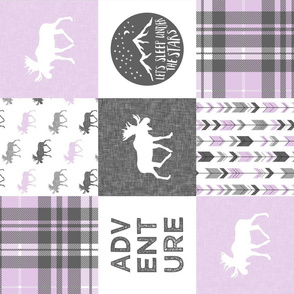 Adventure Moose Woodland Patchwork Plaid Purple (90)