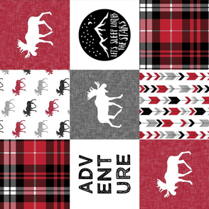 Adventure Moose Woodland Patchwork Plaid Red and Black (90)