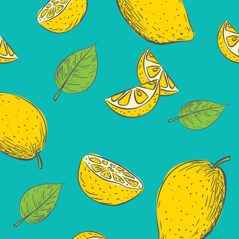 Lemon Time - Aqua 6 fabric by diane555 on Spoonflower - custom fabric