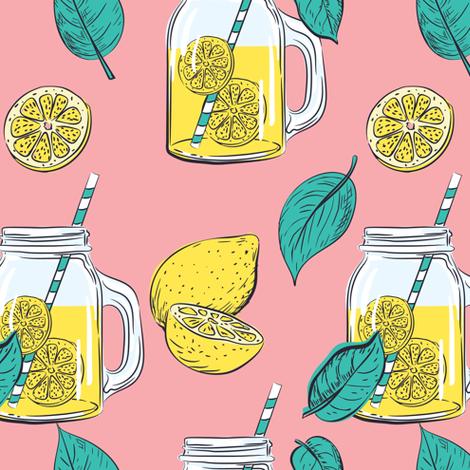 Lemon Time -  Pink fabric by diane555 on Spoonflower - custom fabric