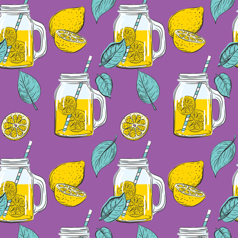 Lemon Time - Purple fabric by diane555 on Spoonflower - custom fabric