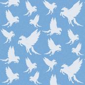 Flock of Pegasus on Blue- Large Scale