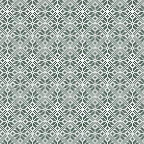 (small scale) fair isle snowflake (green) || winter knits