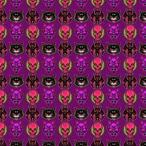 Vintage Halloween! (on purple, pink skulls)