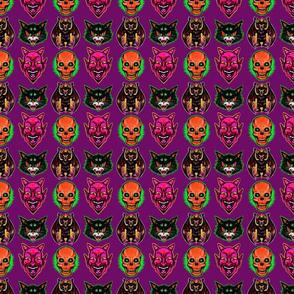 Retro Halloween (on purple, pink devils)