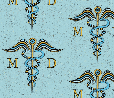 Antique Caduceus symbol fabric by lucybaribeau on Spoonflower - custom fabric