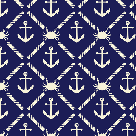 Crystal Cove - Navy 7 fabric by diane555 on Spoonflower - custom fabric