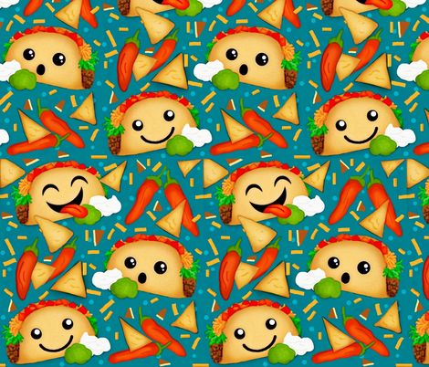 Taco Fiesta ! Cute  fabric by franbail on Spoonflower - custom fabric