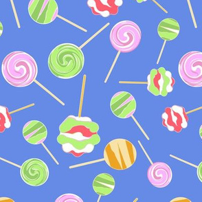 Lollipops on blue background