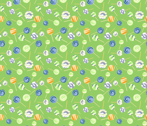 Lollipops on green background fabric by jaanahalme on Spoonflower - custom fabric