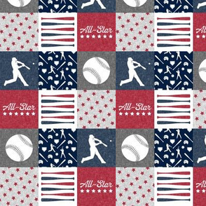 "(1.5"" scale) All-Star - red and blue baseball patchwork wholecloth C18BS"