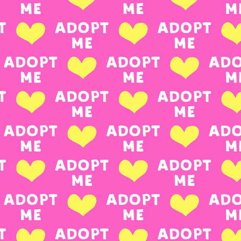 adopt me - pink & yellow fabric by littlearrowdesign on Spoonflower - custom fabric