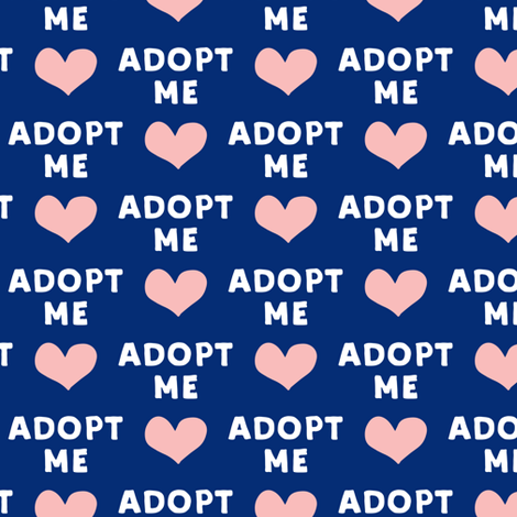 adopt me - pink & blue fabric by littlearrowdesign on Spoonflower - custom fabric