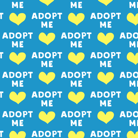 adopt me - blue & yellow fabric by littlearrowdesign on Spoonflower - custom fabric