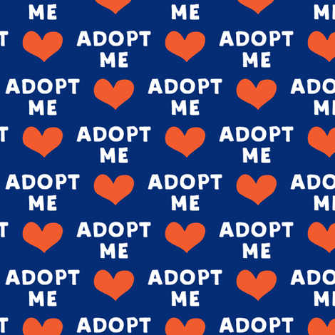 adopt me - blue & red fabric by littlearrowdesign on Spoonflower - custom fabric