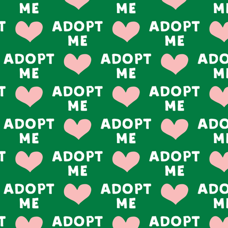adopt me - pink & green fabric by littlearrowdesign on Spoonflower - custom fabric