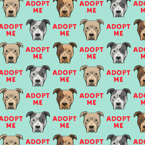 adopt me - pit bulls on mint fabric by littlearrowdesign on Spoonflower - custom fabric
